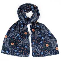 Navy sprigs RSPB organic cotton scarf product photo