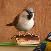 Wooden sparrow ornament product photo