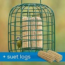 RSPB Suet feeder and guardian plus suet logs product photo