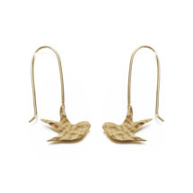 Swallow bird earrings, brass product photo