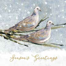 Two turtle doves RSPB charity Christmas cards - 10 pack product photo