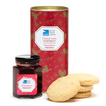 Clotted cream shortbread and strawberry preserve gift set product photo
