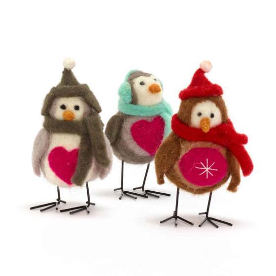Felt robin decorations product photo - Felt Robin Christmas Decorations - RSPB Shop