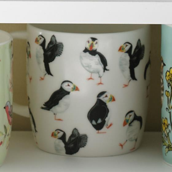 Seashore puffin parade mug product photo Front View - additional image 1 L