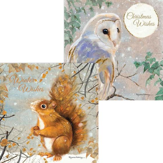 RSPB Snowy foraging duo Christmas cards (10 pack) product photo Default L