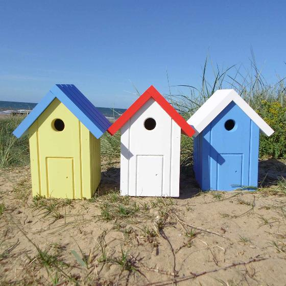 Beach hut nest box yellow and blue product photo Side View -  - additional image 3 L