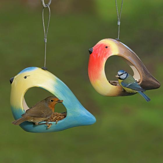 Ceramic bird feeder - Blue tit product photo Back View -  - additional image 2 L