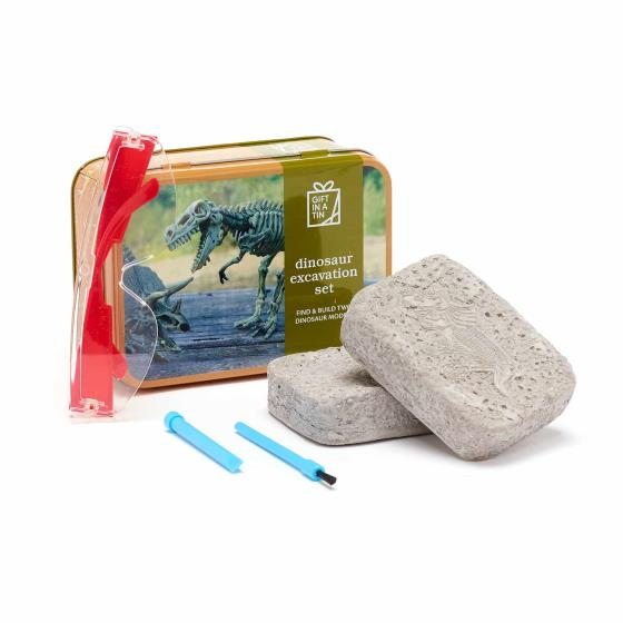 Dinosaur excavation set in a tin product photo Default L