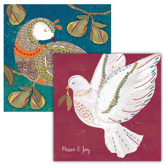 Festive birds RSPB charity Christmas cards - 10 pack, 2 designs product photo