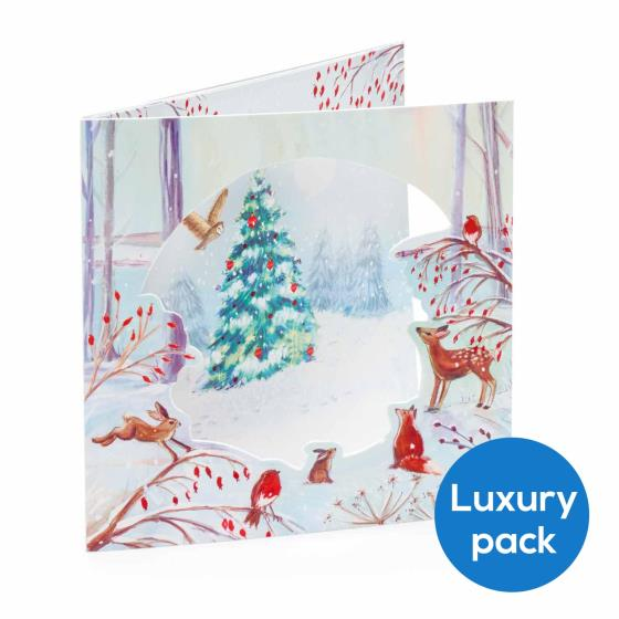Festive forest RSPB luxury charity Christmas cards - 8 pack product photo