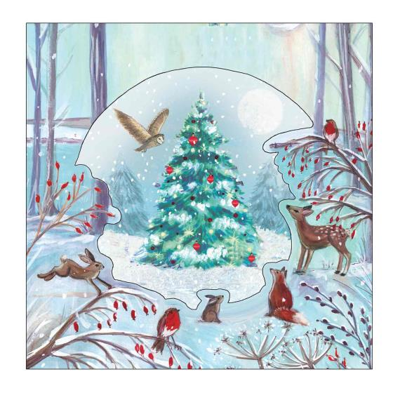 Festive forest RSPB luxury charity Christmas cards - 8 pack product photo Side View -  - additional image 3 L