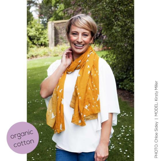 Flying geese RSPB cotton scarf, mustard product photo Back View -  - additional image 2 L