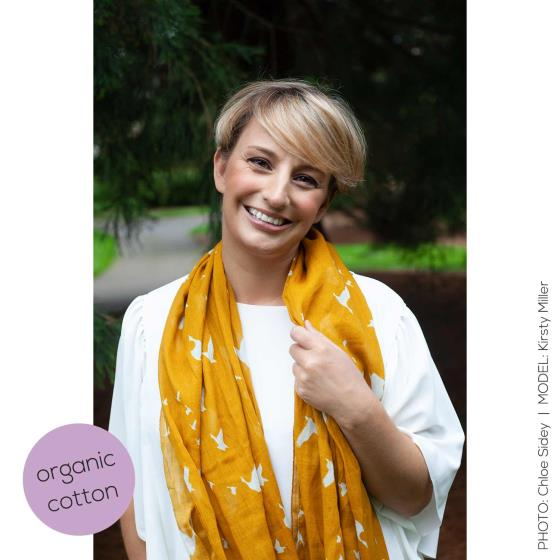 Flying geese RSPB cotton scarf, mustard product photo