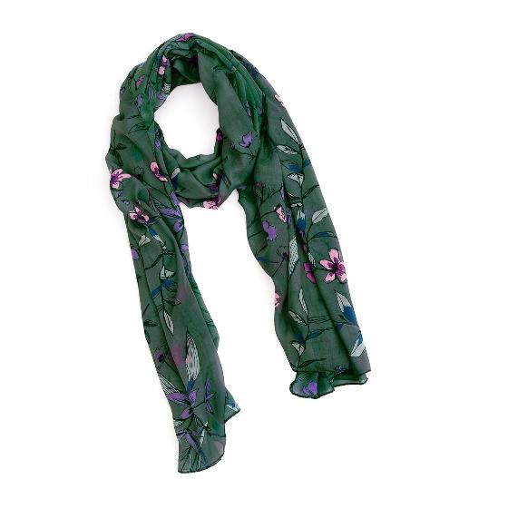 Floral RSPB cotton scarf, forest green product photo