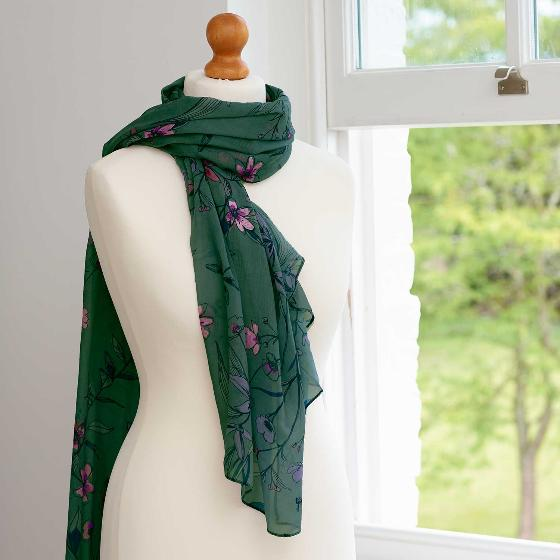 Floral RSPB cotton scarf, forest green product photo Back View -  - additional image 2 L