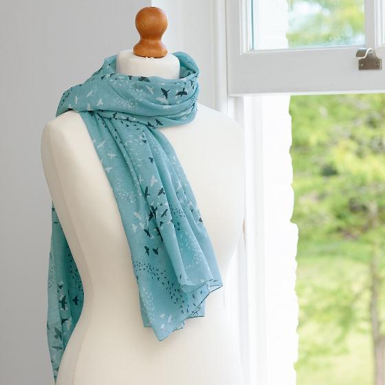 Starling murmuration RSPB cotton scarf, light blue product photo Back View -  - additional image 2 L