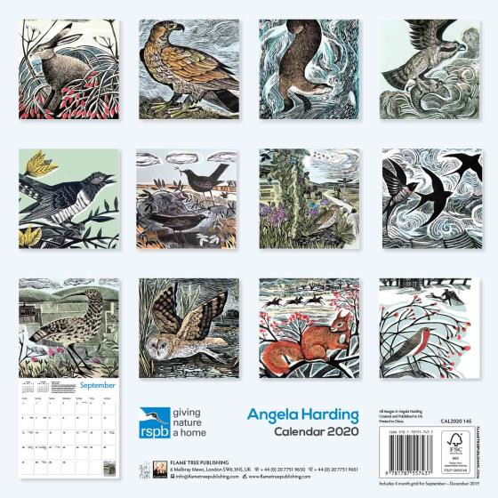 RSPB Angela Harding calendar 2020 product photo Back View -  - additional image 2 L