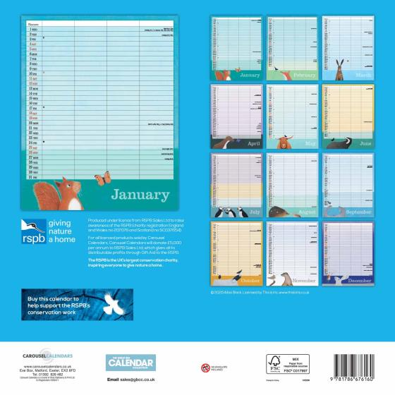 RSPB Family organiser 2020 product photo Back View -  - additional image 2 L