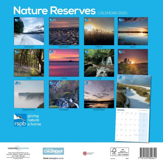 RSPB Nature reserves calendar 2020 product photo Back View -  - additional image 2 L