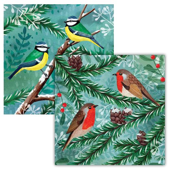 Winter forest birds RSPB charity Christmas cards - 10 pack, 2 designs product photo
