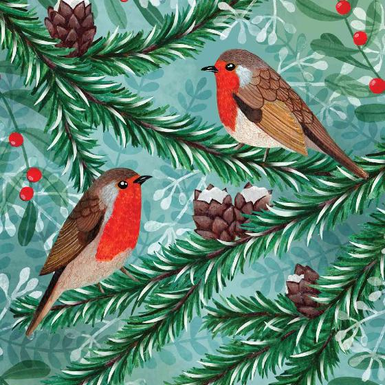 Winter forest birds RSPB charity Christmas cards - 10 pack, 2 designs product photo Side View -  - additional image 3 L