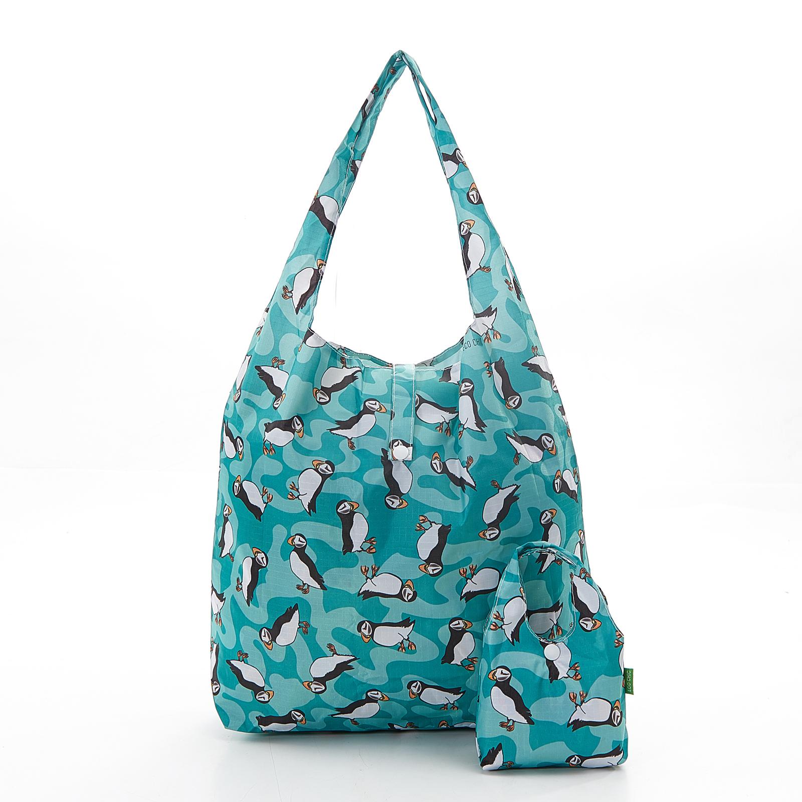 Foldaway shopping bag, puffins
