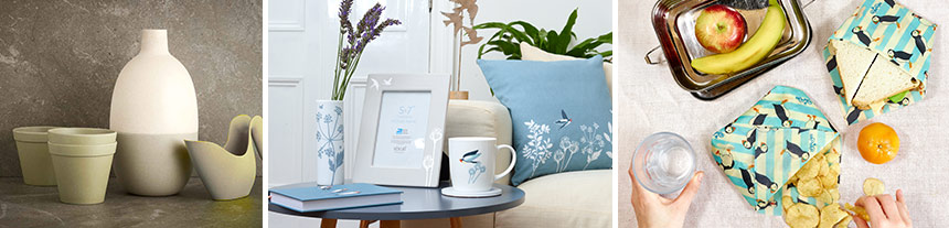 New living and home products including husk garden and home range, swallow inspired home and kitchenware and eco-friendly beeswax wraps