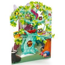 Tree of birds 3D greeting card product photo