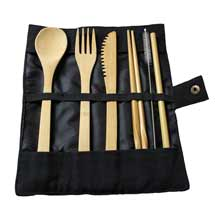 Bamboo cutlery pouch product photo