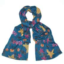 Blue batik flowers RSPB organic cotton scarf product photo
