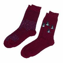 Men's 2 pack bamboo duck socks, claret product photo