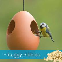 Egg terracotta bird feeder with 1kg food product photo