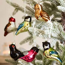 Glass Christmas tree bird decorations by RSPB product photo