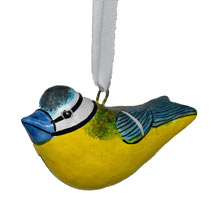 Hand painted hanging decoration, blue tit product photo