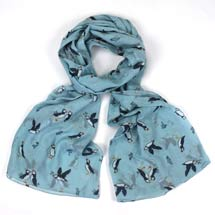 Light blue puffin RSPB organic cotton scarf product photo