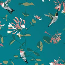 Lorna Syson fabric, teal hummingbird product photo