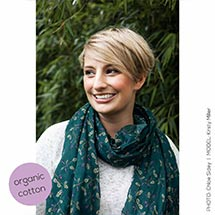 Oak leaves RSPB cotton scarf, midnight green product photo