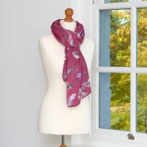 Pink birds and flowers scarf product photo