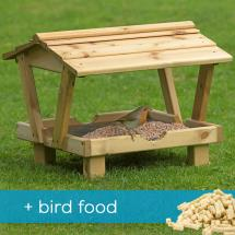 RSPB Roofed ground table & food product photo