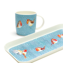 Robins in the snow mug and tray product photo