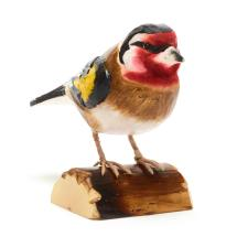 Wooden goldfinch ornament product photo