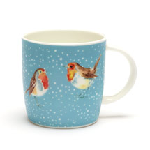 Robins in the snow mug product photo