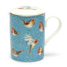 Robins in the snow tea infuser mug product photo