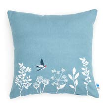 RSPB Swallows cushion - blue square product photo