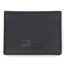 Leather travel pass card holder, black product photo