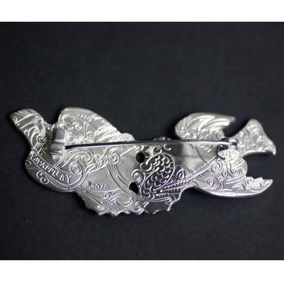 Malcolm Appleby Sparrow silver brooch product photo Front View - additional image 1 L