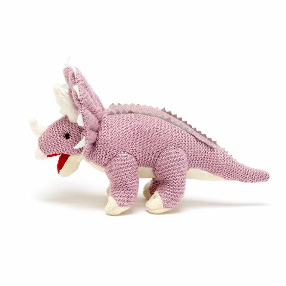 Triceratops knitted dinosaur product photo Front View - additional image 1 L