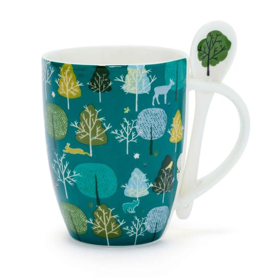 Wild wood hot chocolate mug - trees product photo Default L