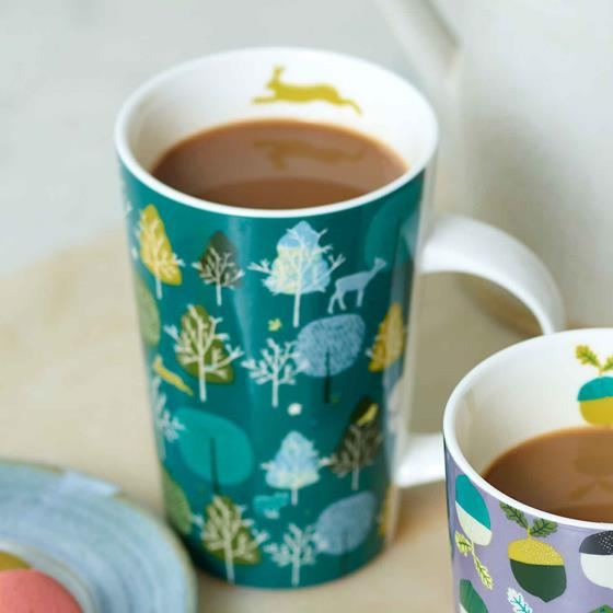 Wild wood latte trees mug product photo Front View - additional image 1 L