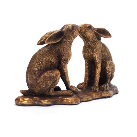 Kissing hares ornament product photo Front View - additional image 1 L